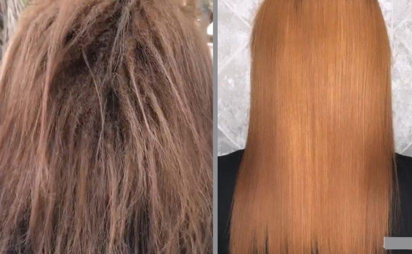 صافی کردن موی فر ریز و آسیب دیده از بابت ریباندینگ مو