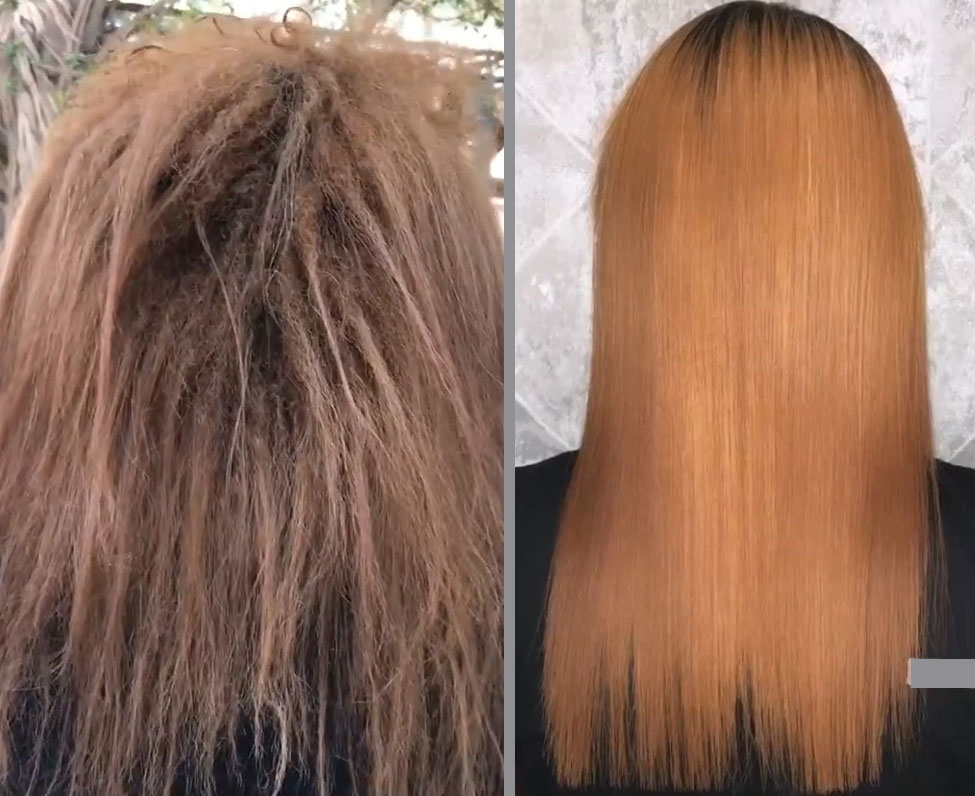 صافی کردن موی فر ریز و آسیب دیده از بابت ریباندینگ مو تهران